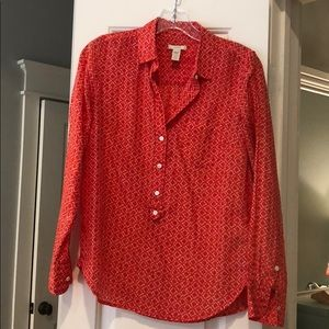 JCREW red and white button down